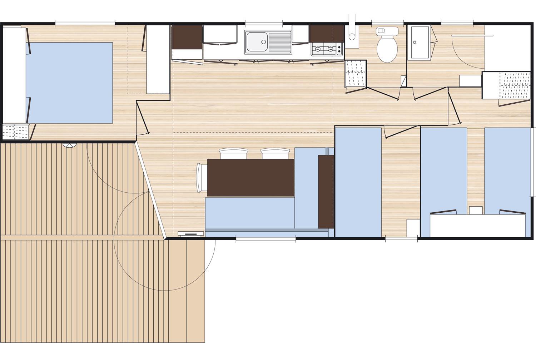 Plan Mobil-Home 5 places avec sanitaires