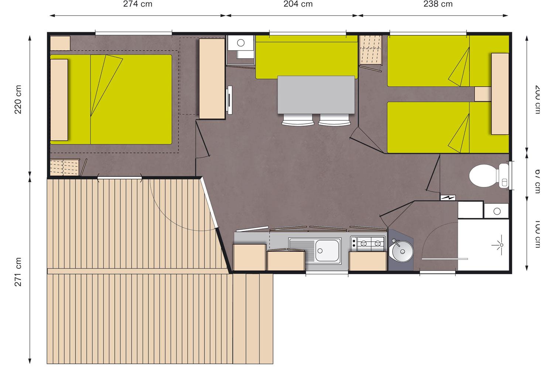 Plan Mobil-Home 4 places avec sanitaires