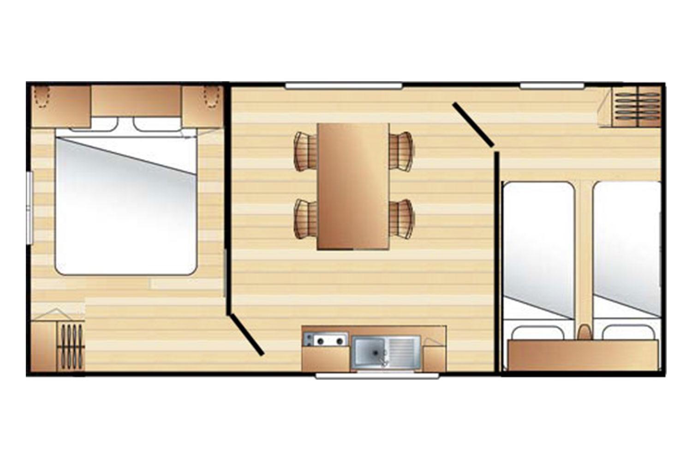 Plan Mobil-Home 4 places sans sanitaire