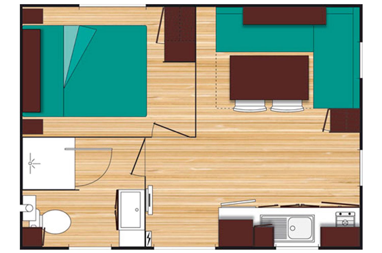 Plan Mobil-Home 2 places avec sanitaires