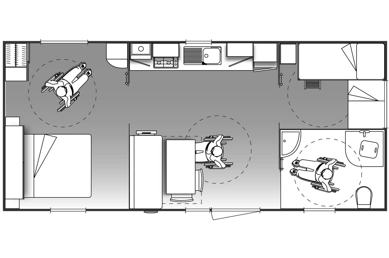 Plan Mobil-Home 4 places adapté PMR (2 chambres)
